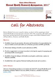 call for abstracts symposium 2011.pdf - Khyber Medical University