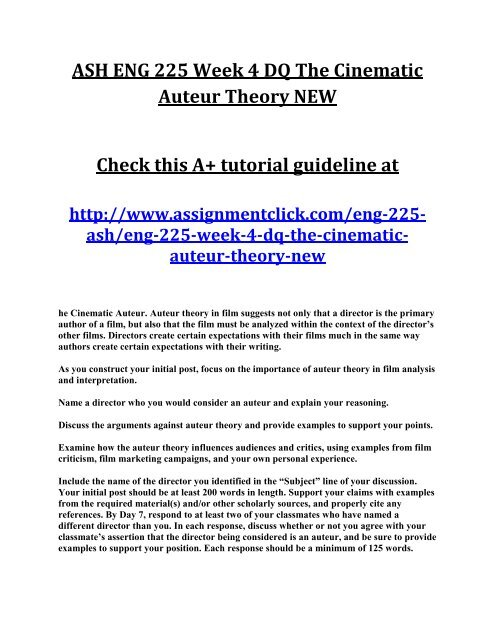 Ash Eng 225 Week 4 Dq The Cinematic Auteur Theory New