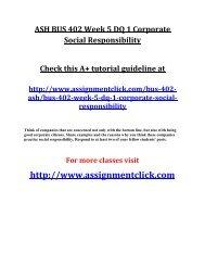 ASH BUS 402 Week 5 DQ 1 Corporate Social Responsibility