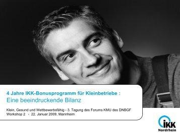 Vier Jahre IKK Bonusprogramm für Kleinbetriebe - DNBGF