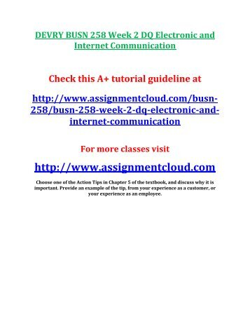 DEVRY BUSN 258 Week 2 DQ Electronic and Internet Communication