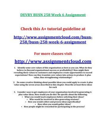 DEVRY BUSN 258 Week 6 Assignment