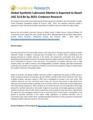 Global Synthetic Lubricants Market is Expected to Reach US$ 33.8 Bn by 2023: Credence Research