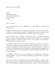 Carta al presidente Juan Manuel Santos -22 de octubre de 2016-