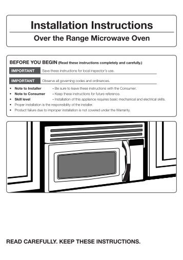 Over The Range Microwave Me16h702sew Aa Installation