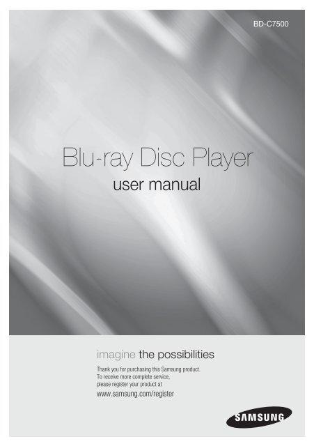 Samsung Wall Mountable Blu Ray Disc Trade Player Bd C7500 Bd C7500 Xaa User Manual English