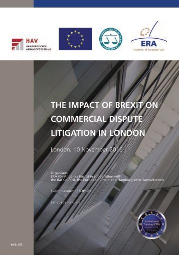 THE IMPACT OF BREXIT ON COMMERCIAL DISPUTE LITIGATION IN LONDON