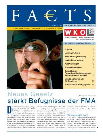 Neues Gesetz stärkt Befugnisse der FMA - Factbook