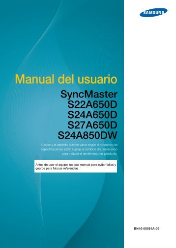 """Samsung S24A850DW - 24"""" 850 Series Business LED Monitor - LS24A850DW/ZA - User Manual ver. 1.0 (SPANISH,4.49 MB)"""