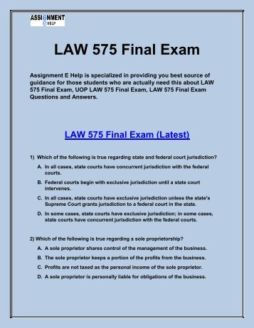 LAW 575 Entire Course