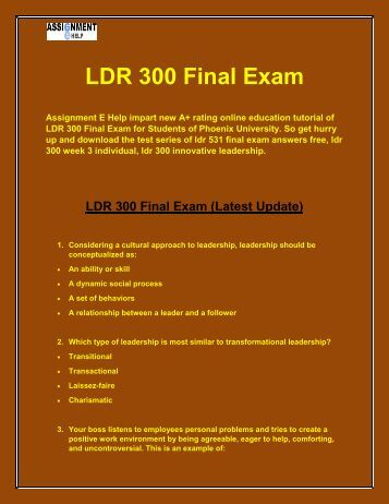 ldr 300 week 1 individual assignment Ldr 300 individual assignment need any help regarding ldr 300 final exam then assignment e help is the best way to solve your problems ldr 300 week 1 dq 1.