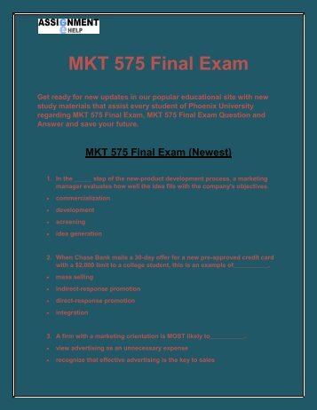 MKT 575 Final Exam - MKT 575 final exam answers - Assignment E Help