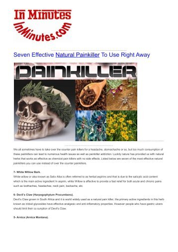 Seven Effective Natural Painkiller To Use Right Away