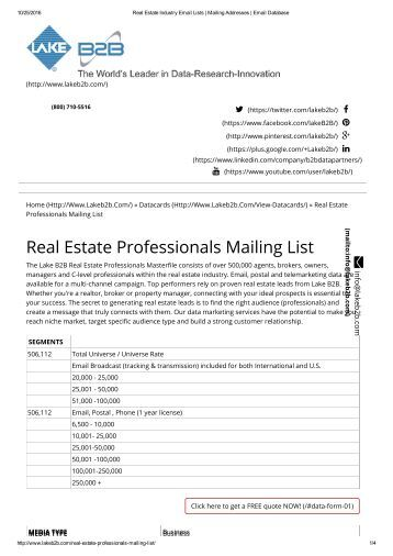 Real Estate Agent mailing lists
