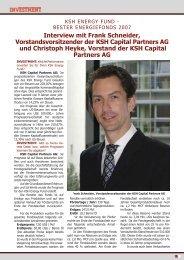 Interview mit Frank Schneider, Vorstandsvorsitzender der ... - KSH AG