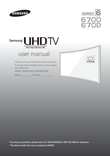 "Samsung 65"" Class JU670D 6-Series Curved 4K UHD Smart TV - UN65JU670DFXZA - Quick Guide ver. 1.0 (ENGLISH,4.72 MB)"