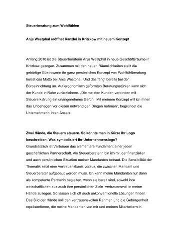 Steuerberatung zum Wohlfühlen Anja Westphal eröffnet Kanzlei in ...