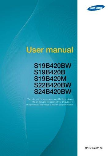 "Samsung 19"" 420 Series Business LED Monitor - LS19B420BWV/ZA - User Manual (ENGLISH)"