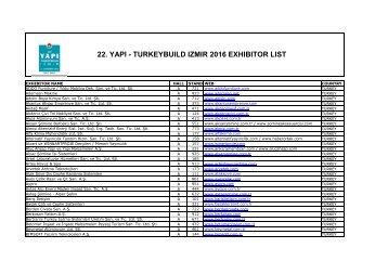22 YAPI - TURKEYBUILD IZMIR 2016 EXHIBITOR LIST