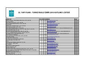 22 YAPI FUARI - TURKEYBUILD İZMİR 2016 KATILIMCI LİSTESİ