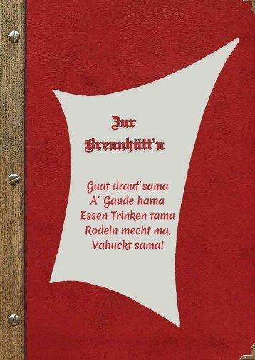 Speisekarte Zur Brennhütt'n Flachau