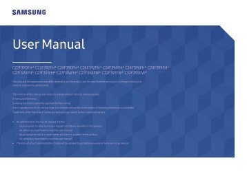 "Samsung 27"" Curved LED Monitor - LC27F398FWNXZA - User Manual ver. 1.0 (ENGLISH,1.04 MB)"