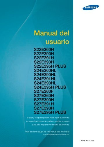 """Samsung 27"""" LED Monitor with Glossy and ToC T-shape Stand - LS27E390HS/ZA - User Manual ver.  (SPANISH,3.96 MB)"""
