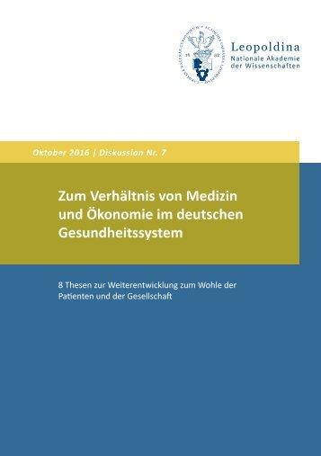 Zum Verhältnis von Medizin und Ökonomie im deutschen Gesundheitssystem