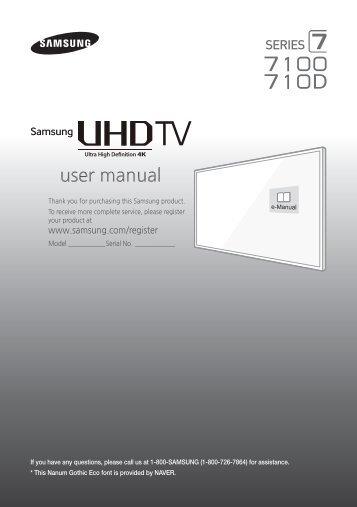 "Samsung 65"" Class JU7100 7-Series 4K UHD Smart TV - UN65JU7100FXZA - Quick Guide ver. 1.0 (ENGLISH,4.7 MB)"