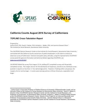 California Counts August 2016 Survey of Californians