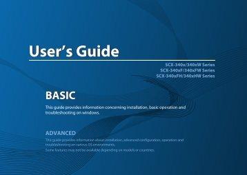 Samsung Black & White Laser Multifunction Printer - 21 PPM - SCX-3405FW/XAA - User Manual (ENGLISH)