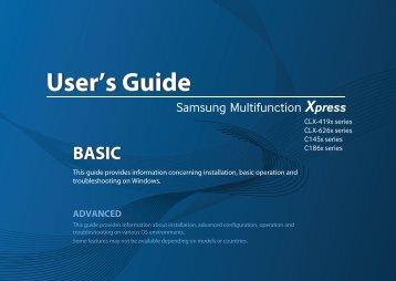 Samsung Color Laser Multifunction Printer - 19/19 PPM - CLX-4195FW/XAC - User Manual ver. 1.00 (ENGLISH,0.0 MB)
