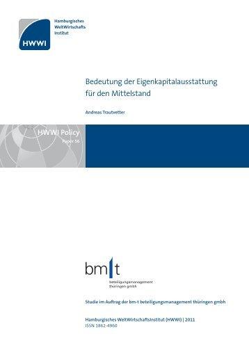 Bedeutung der Eigenkapitalausstattung für den Mittelstand - HWWI