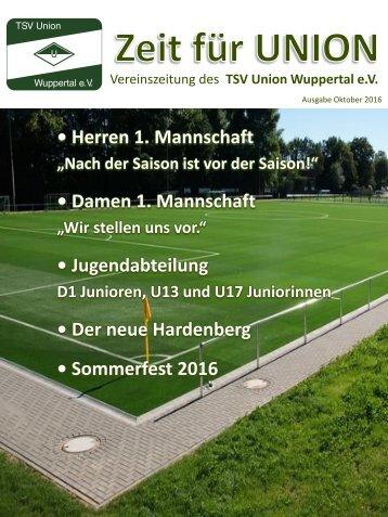 TSV Union Wuppertal e.V. - Vereinszeitschrift Zeit für Union - Ausgabe Oktober 2016