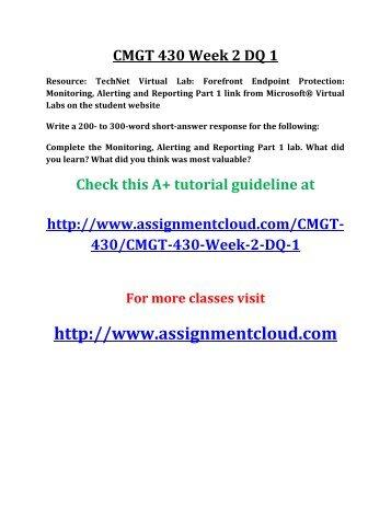 essay concerning cmgt 430