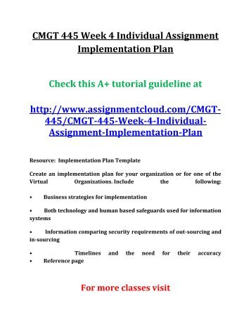 implementation plan template cmgt 445 Cmgt 445 week 1 individual preparing for system implementation  high level  implementation plan using microsoft​®​ project, showing just broad  note: to  access the microsoft​®​ project template unzip the linked file.