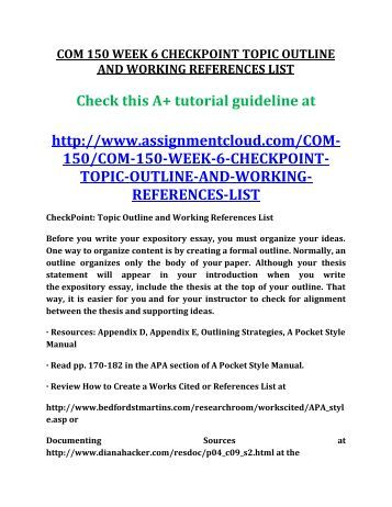 Checkpoint rough draft of research paper