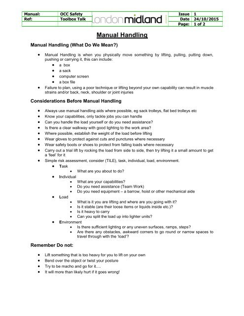 Tbt Manual Handling Issue 1
