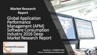 Global Application Performance Management (APM) Software Consumption Industry 2016 Deep Market Research Report