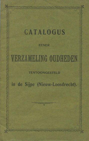 Catalogus Verzameling Oudheden 1903