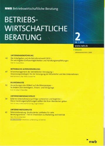 BETRl~E BS Wl RTSCHAFTLICH E BERATUNG - Institut