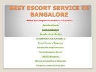 BEST ESCORT SERVICE IN BANGALORE & MUMBAI