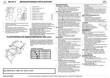KitchenAid HB 423 S - Hob - HB 423 S - Hob NO (854146401100) Istruzioni per l'Uso