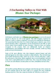 Plan exotic and customized Bhutan Tour Packages