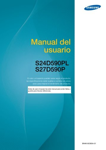 """Samsung 27"""" monitor with Easel Stand - LS27D590PS/ZA - User Manual ver. 1.0 (SPANISH,3.11 MB)"""