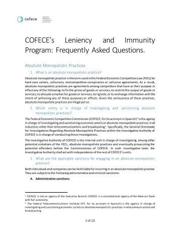 COFECE's Leniency and Immunity Program Frequently Asked Questions