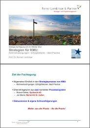 Strategien für KMU: - Forrer Lombriser & Partner AG