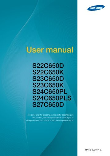 "Samsung S22C650D - 21.5"" SC650 Series LED Monitor - LS22C65KDSV/GO - User Manual ver. 1.0 (ENGLISH,5.68 MB)"