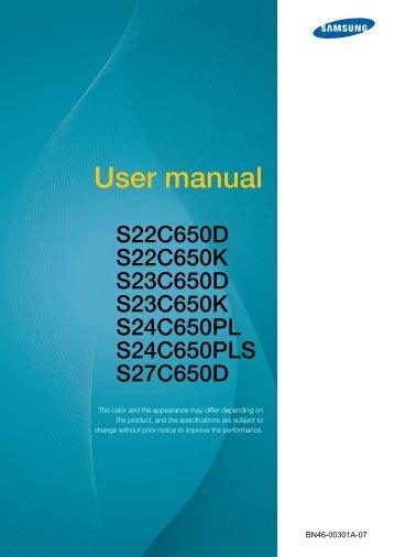 "Samsung S22C650D - 21.5"" SC650 Series LED Monitor - LS22C65KDSV/GO - User Manual (ENGLISH)"