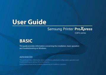 Samsung Samsung Multifunction Printer ProXpress C3010DW - SL-C3010DW/XAA - User Manual ver. 1.0 (ENGLISH,16.85 MB)